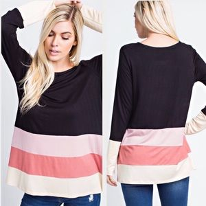 0832a60f6c3d1 Tops | Last One Med Black Multi Color Block Bamboo Top | Poshmark